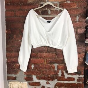 Prettylittlething Cropped Off Shoulder Sweater S